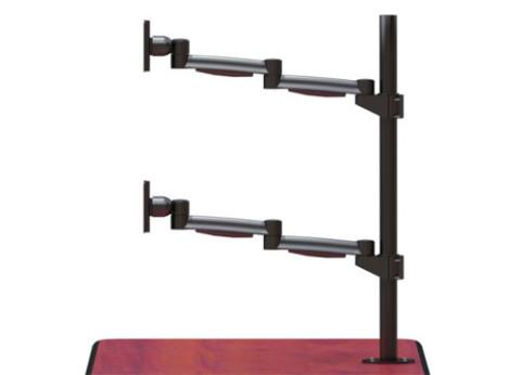 זרוע ארגונומית לשני מסכי מחשב אנכיים