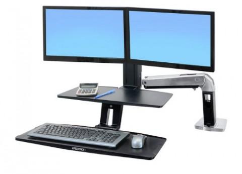 עמדת עבודה עמידה ישיבה ארגונומית לשני מסכי מחשב WorkFit-A