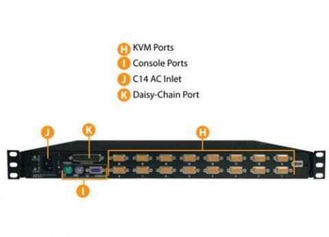 מגירה נשלפת לארון שרתים 17 אינץ' KVM ל 16 פורטים