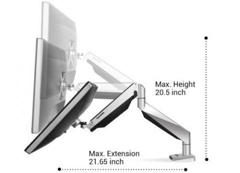 זרוע למסך מחשב מתכוונת עם חיבור שולחני וכניסת USB