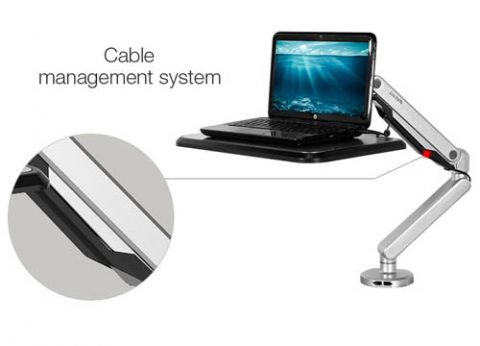 עמדת עבודה עמידה ישיבה ארגונומית למחשב נייד