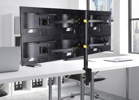 זרוע ארגונומית מתכווננת לשישה מסכי מחשב