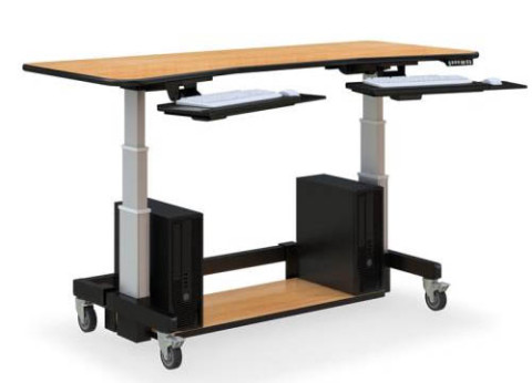 שולחן מתכוונן ארגונומי עם 2 מגשים נשלפים